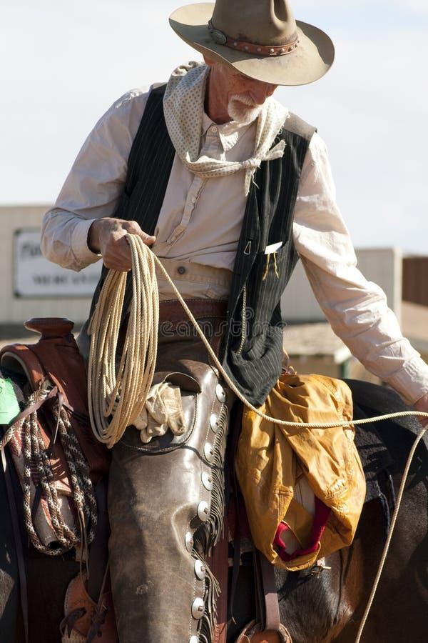 Cordaio occidentale anziano del cowboy fotografia stock libera da diritti