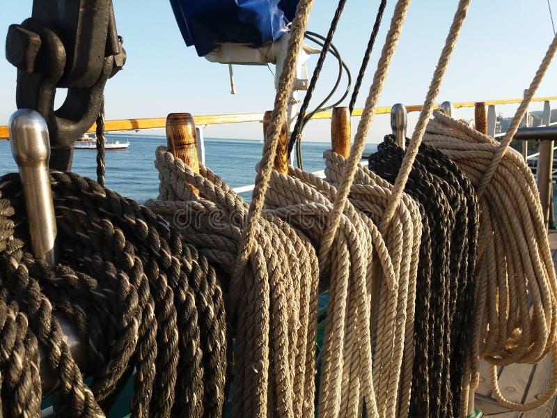 Cordame su una barca a vela immagine stock libera da diritti