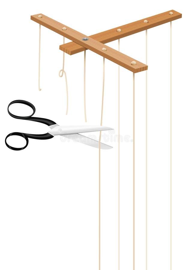Cordas dos cortes das tesouras da barra do controle do marionete ilustração do vetor