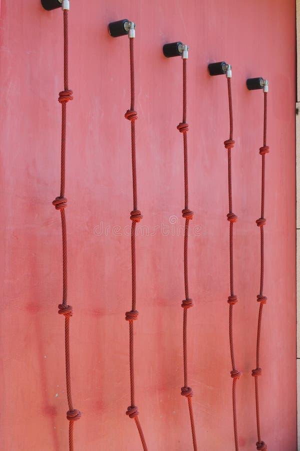 Cordas na parede coral viva para esportes ativos imagens de stock royalty free