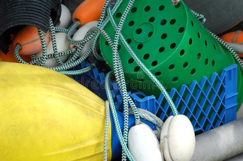 Cordas, redes e flutuadores de pesca imagens de stock royalty free