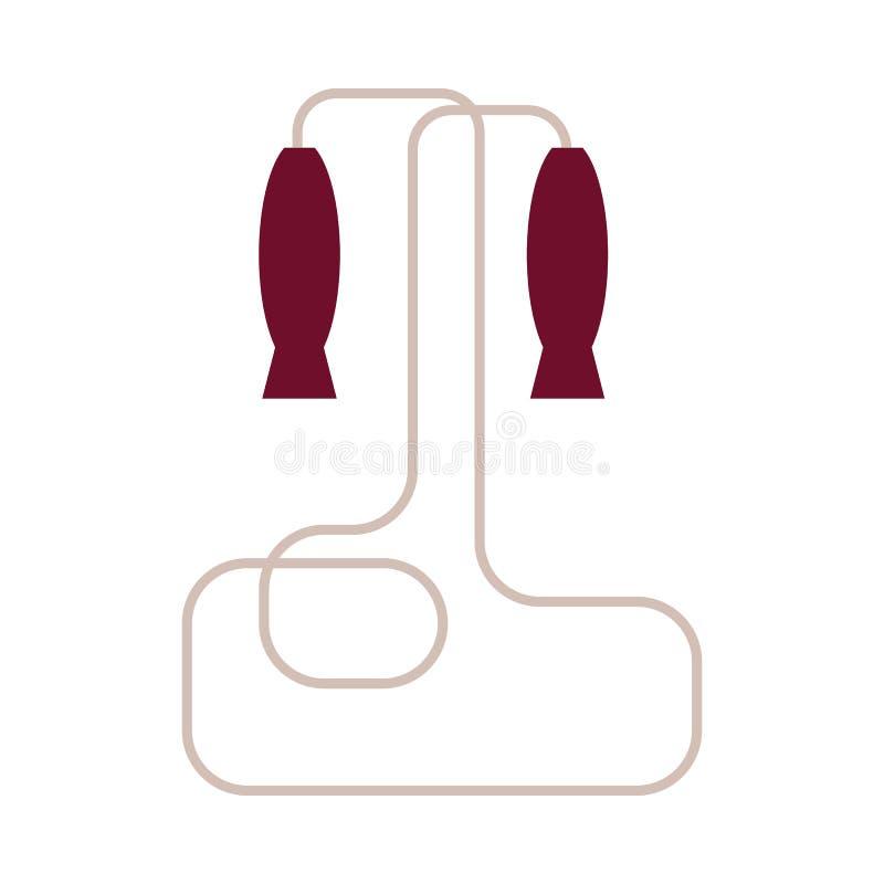 Corde à sauter - équipement de sport pour le cardio- jeu de formation ou d'enfants d'isolement sur le fond blanc illustration de vecteur
