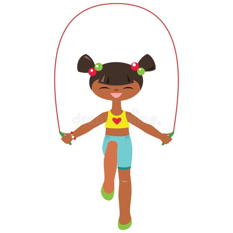 Corde à sauter de petite fille illustration de vecteur