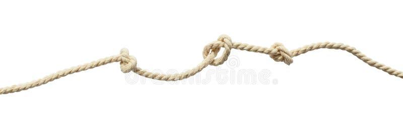 Corde beige de coton avec des noeuds image libre de droits
