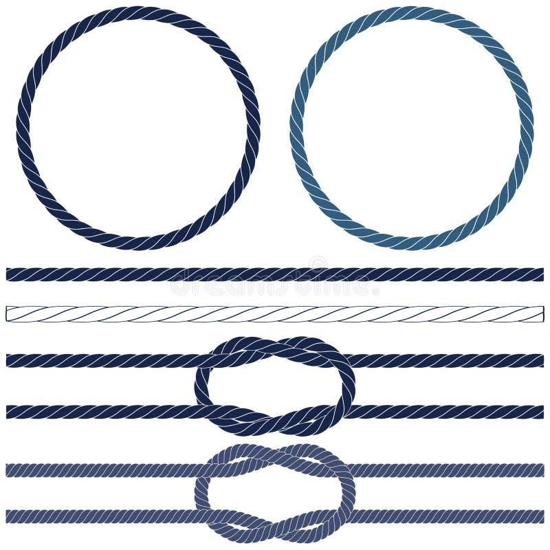 Corde d'isolement de marine, noeuds marins, corde rayée dans bleu et blanc illustration de vecteur