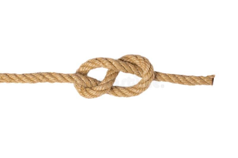 Corde d'isolement Macro de noeud ou de noeud du sch?ma huit de deux cordes brunes d'isolement sur un fond blanc Noeud de marine e images libres de droits