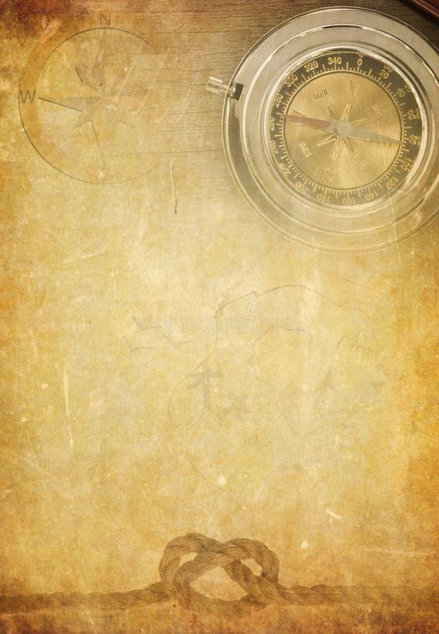 Corde de bateau sur le vieux fond de papier de parchemin images stock