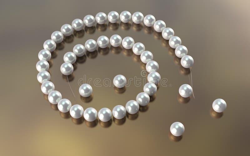 Corde de coupe de collier de perle 3d illustrent image libre de droits