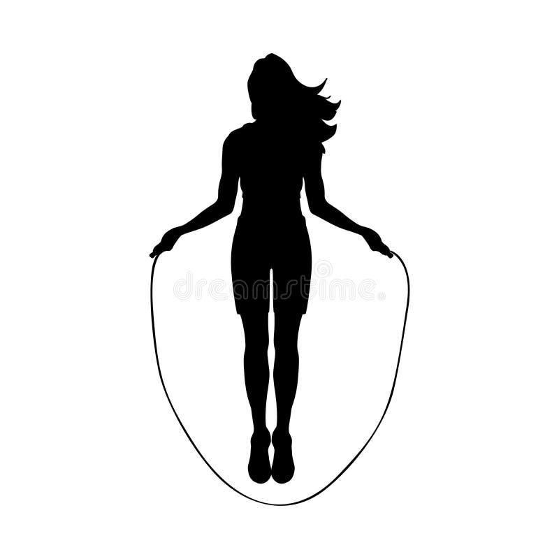 Corde de saut d'exercice de séance d'entraînement de fille de silhouette photographie stock libre de droits