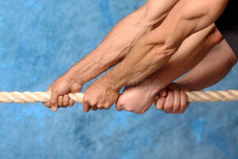 Corde de traction de mains photo libre de droits