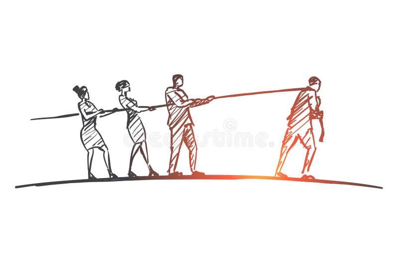 Corde de traction tirée par la main de personnes à différents côtés illustration libre de droits