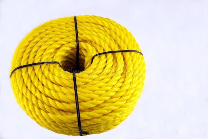 Corde en nylon jaune photographie stock
