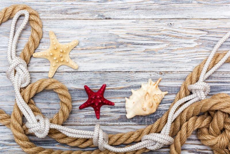Corde et étoiles de mer marines sur les conseils blancs image libre de droits