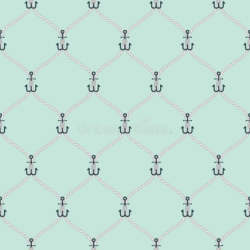 Corde nautique et modèle sans couture de filet de petites ancres illustration de vecteur