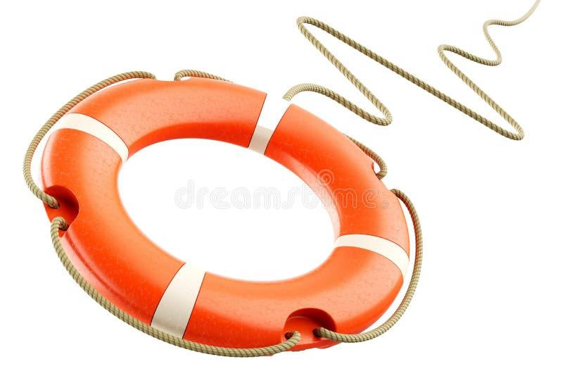 Corde rouge de bouée de sauvetage illustration stock