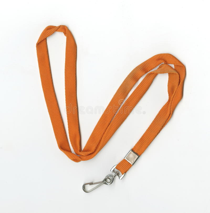 Corde tressée plate orange avec une fermeture en métal pour l'insigne ou la carte principale photographie stock