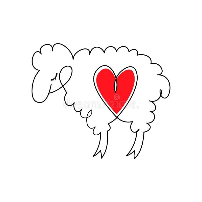 Cordeiro com coração Carneiros dos desenhos animados em pares do animal de love Cordeiro e coração Ilustração do vetor no estilo  ilustração royalty free