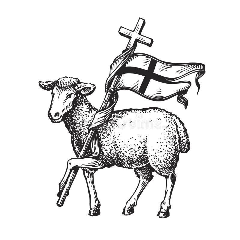 Cordeiro com cruz Símbolo da religião Ilustração do vetor do esboço ilustração stock