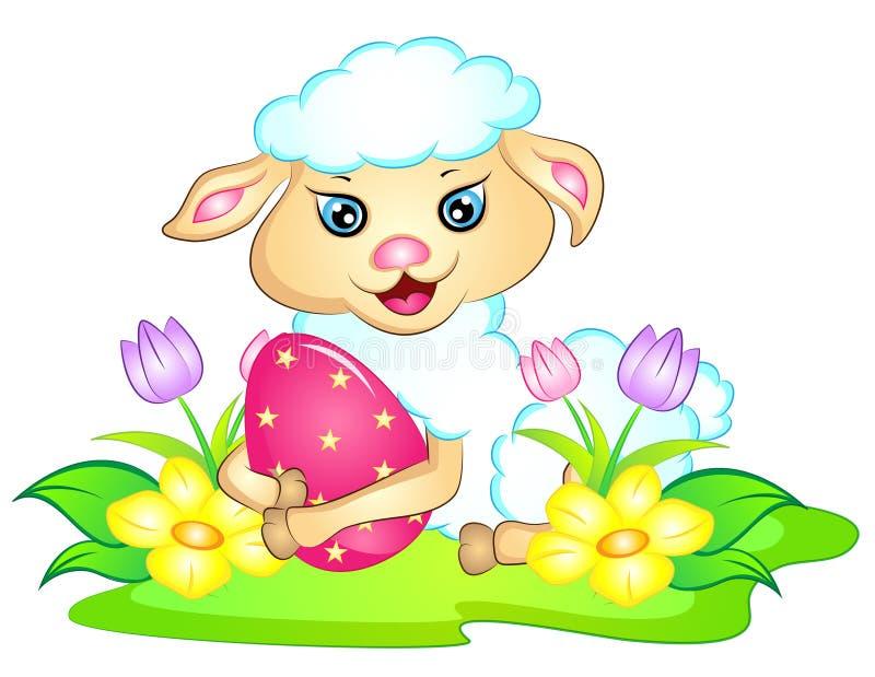 Cordeiro da Páscoa com ovo da páscoa e flores ilustração do vetor