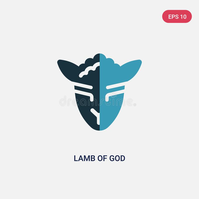 Cordero bicolor del icono del vector de dios del concepto de la religión el cordero azul aislado del símbolo de la muestra del ve stock de ilustración