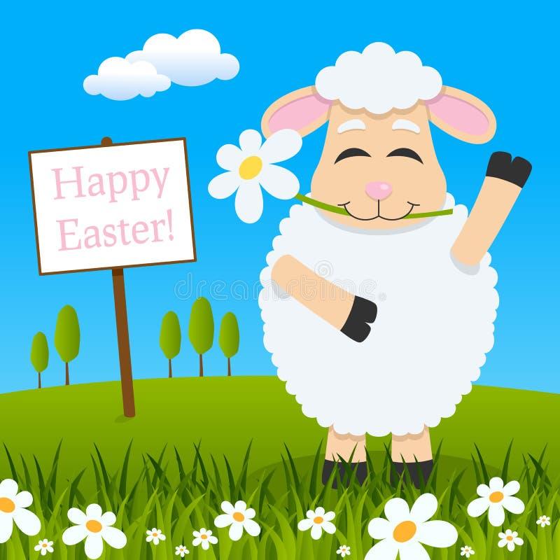 Cordero con la flor que desea una Pascua feliz stock de ilustración