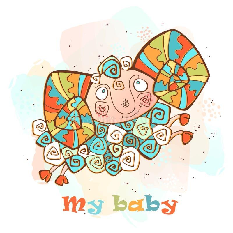 Cordero de Bectksq con los cuernos en un estilo lindo Mi beb? inscripci?n Vector libre illustration