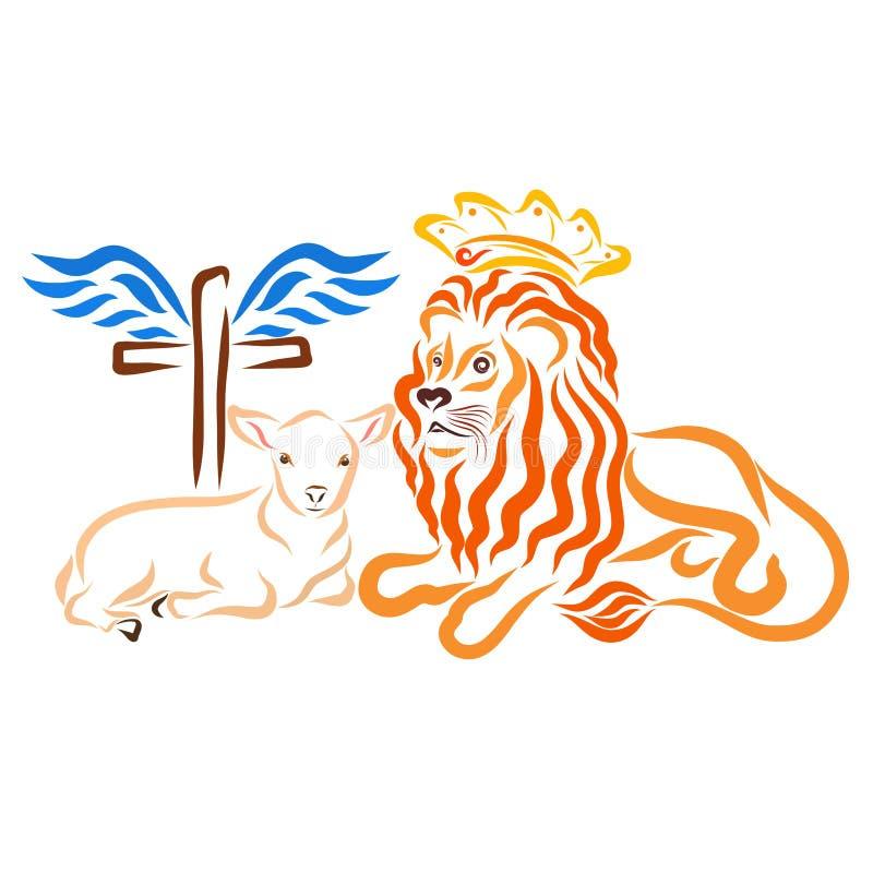 Cordero humilde, león real y cruz coa alas ilustración del vector