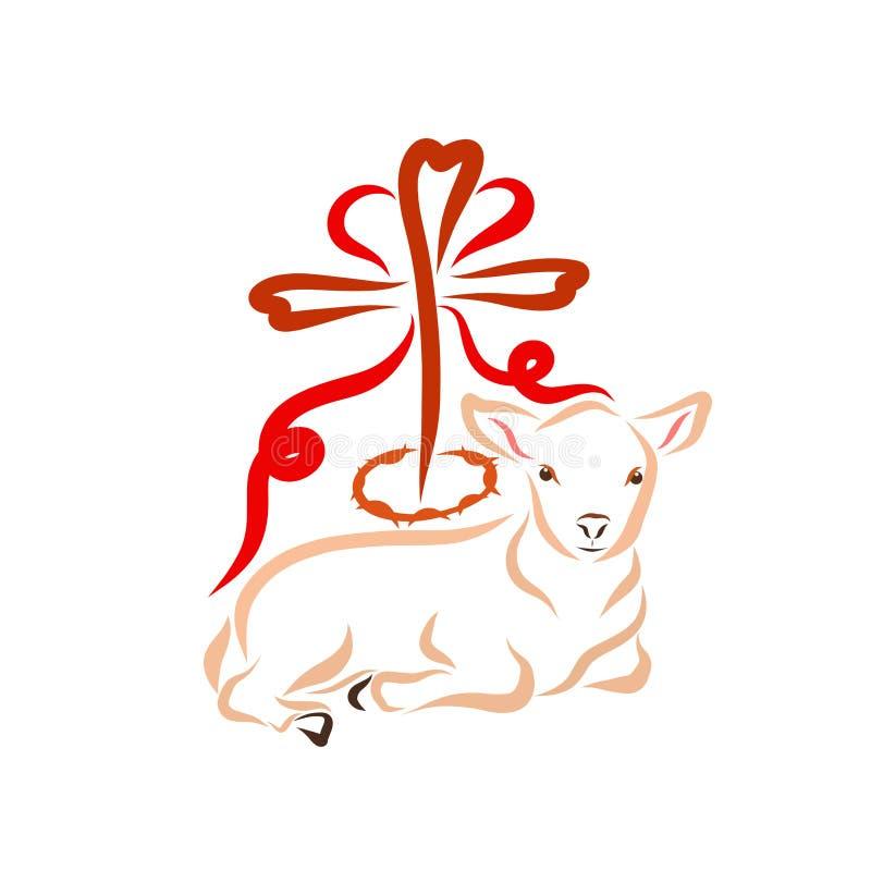 Cordero inmaculado al lado de la cruz, corona de espinas y corazón rojo libre illustration
