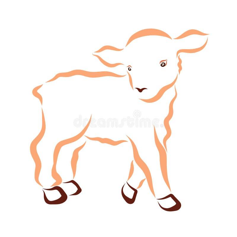 Cordero mullido lindo, contorno ondulado, pequeño animal stock de ilustración