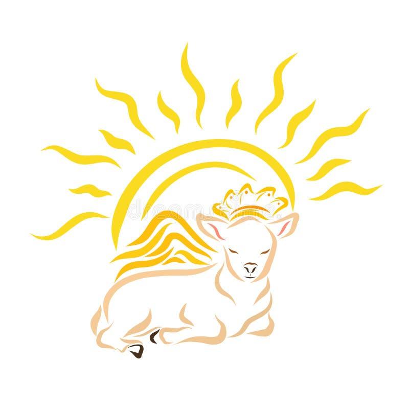 Cordero o becerro con alas de mentira en una corona y un sol brillante stock de ilustración