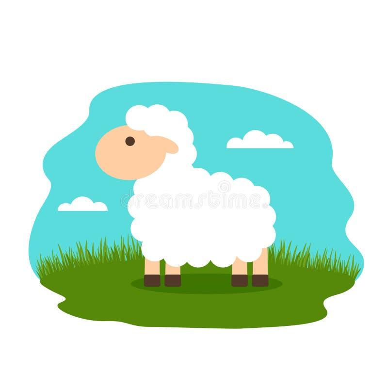 Cordero precioso en el prado Ejemplo plano del vector libre illustration