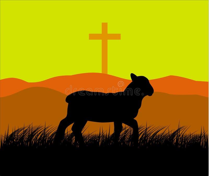 Cordero y cruz stock de ilustración