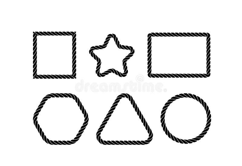 Cordes de diverses formes géométriques simples en noir et blanc Conception de silhouette Illustration de vecteur photos libres de droits