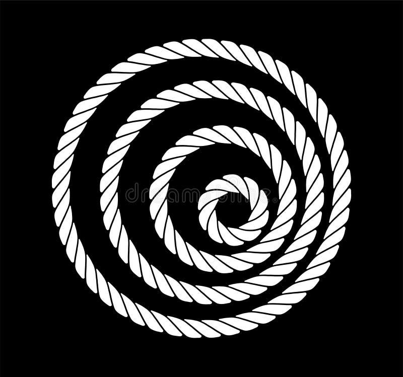Cordes sous forme de cercles d'épaisseur différente en noir et blanc Conception de silhouette Illustration de vecteur image libre de droits