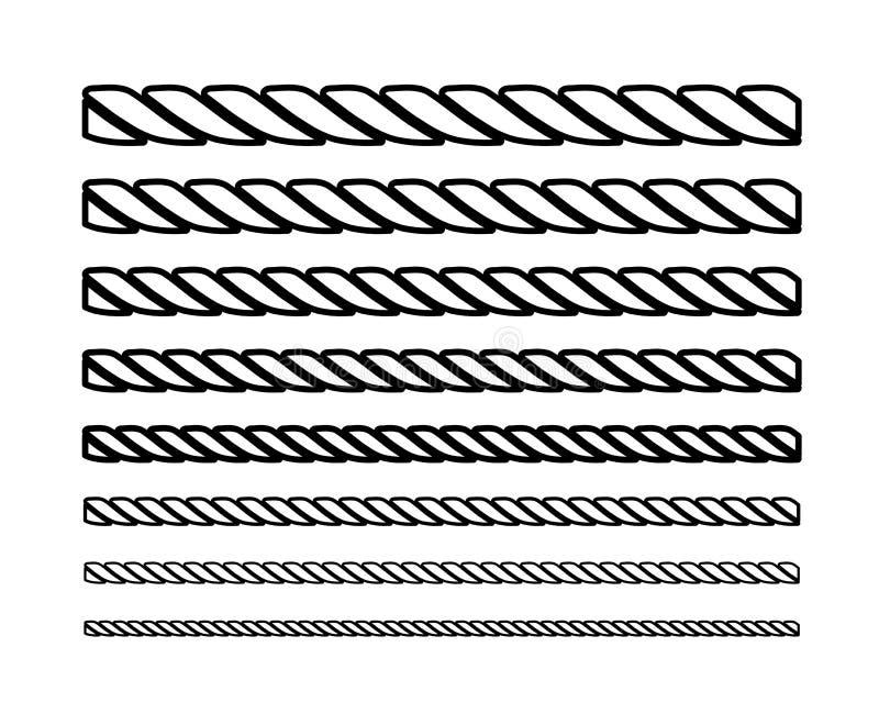 Cordes sous forme de cercles d'épaisseur différente en noir et blanc Conception de silhouette Illustration de vecteur photo stock