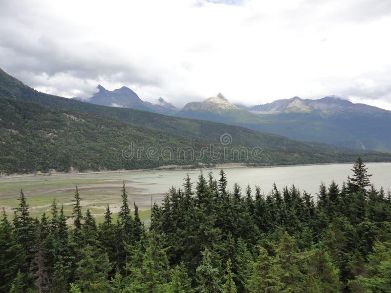 Cordilheira com florestas e córrego Floresta úmida temperada luxúria em Alaska com nuvens e sol fotografia de stock