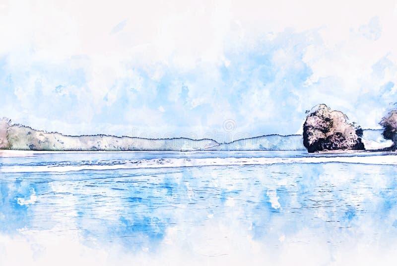 Cordilheira e mar azuis abstratos da cor em Tail?ndia na pintura da ilustra??o da aquarela ilustração stock