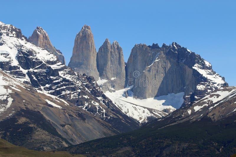 Cordillère Paine en parc national de Torres del Paine patagonia chile image stock