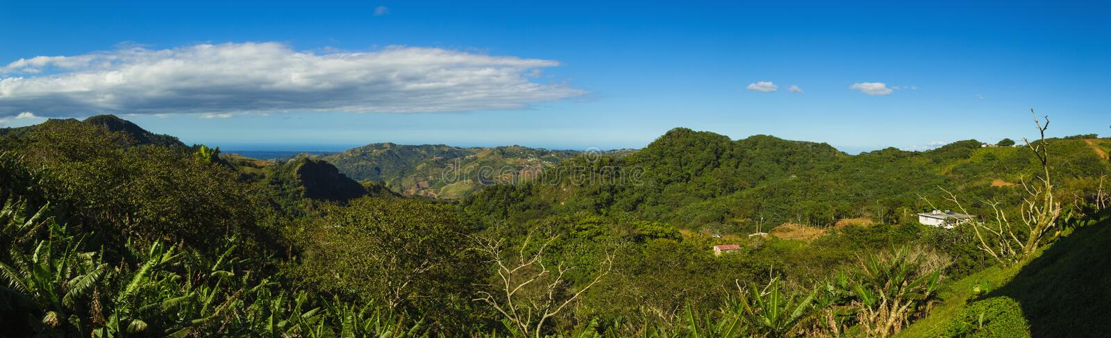 Cordillera Central main mountain range in Puerto Rico. The range crosses the island from west to east and divides the island into northern and southern coastal royalty free stock photography