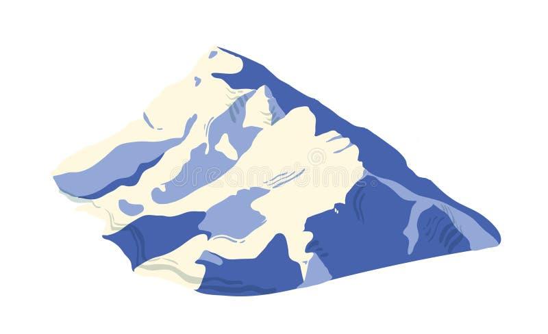 Cordillera cubierta por el hielo, la nieve o el glaciar aislados en el fondo blanco Soporte para el viaje de la aventura, caminan stock de ilustración