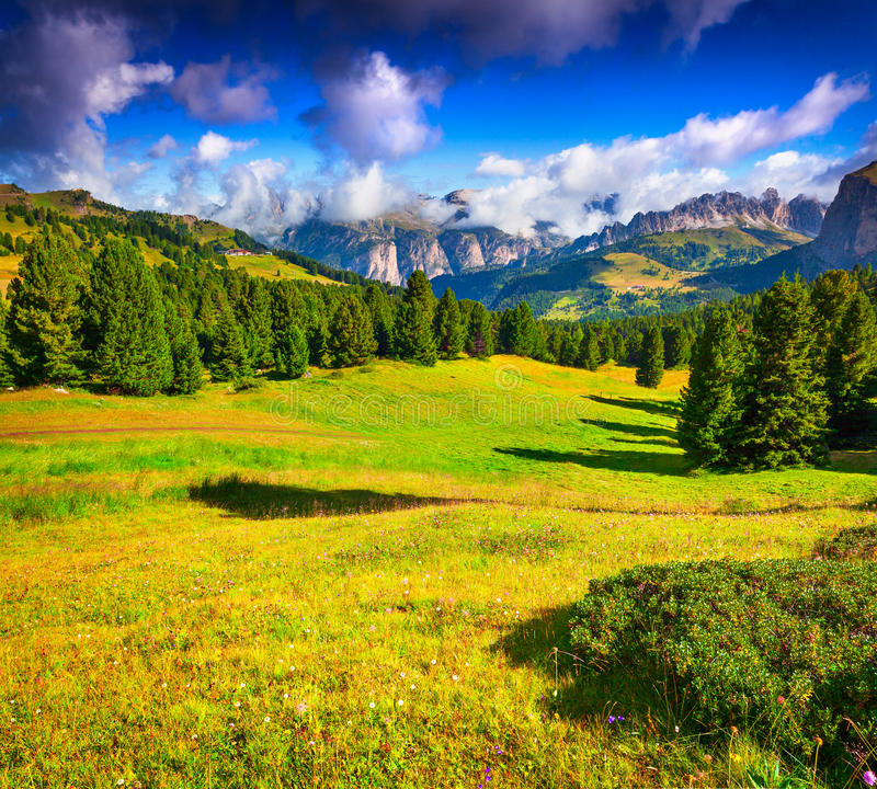 Cordillera de Ferchetta en el día soleado del día de verano Visión desde la venta foto de archivo