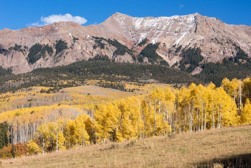 Cordillera de Sneffels del soporte en el lado occidental del norte Visto del camino pasado del dólar, Colorado fotografía de archivo