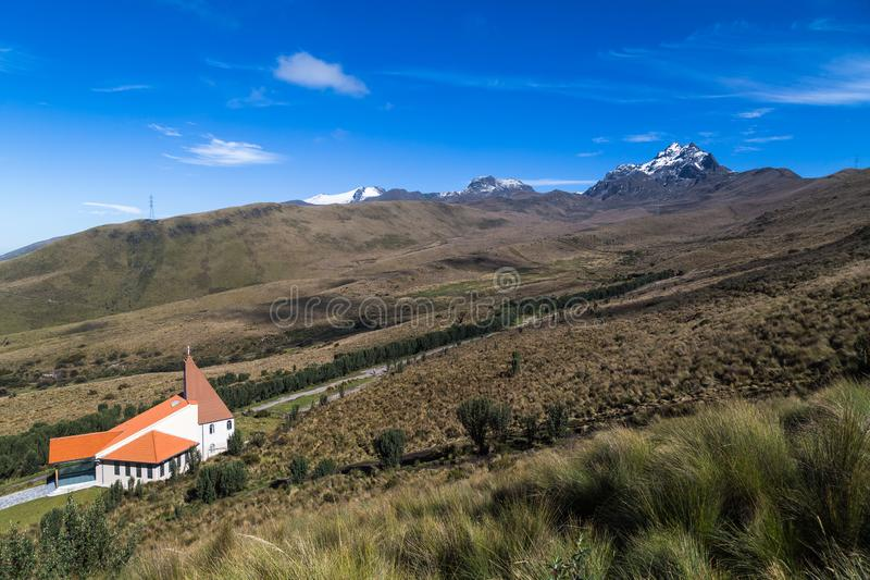 Cordillera del Pichincha,. With its páramos, vegetation and its peaks: Rucu, Guagua, Padre Encantado and the Chapel of the Dolorosa from right to left stock images