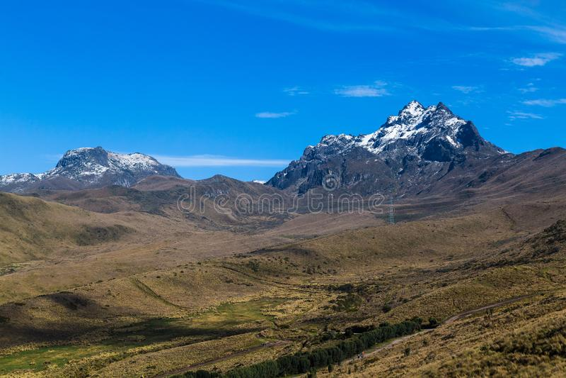 Cordillera del Pichincha,. Rucu Pichincha and Padre Encantado, with its páramos and vegetation with blue sky stock photo