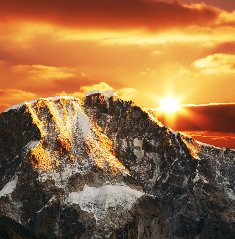 Cordilleras mountain on sunset stock photography