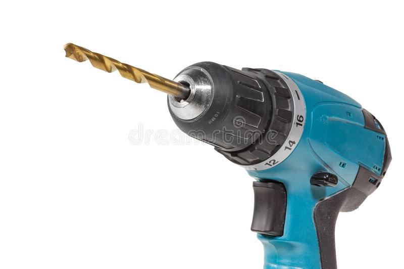 Cordless drill and a drill isolated on a white background stock photo