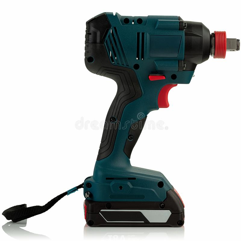 Cordless impact driver. On white background royalty free stock photography