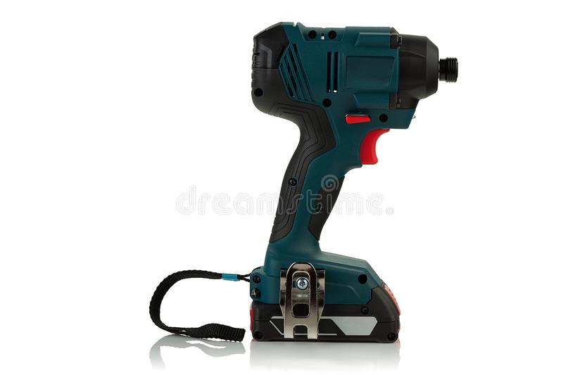 Cordless impact driver. On white background stock images