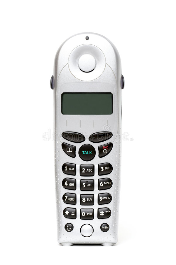 Cordless phone over white stock images
