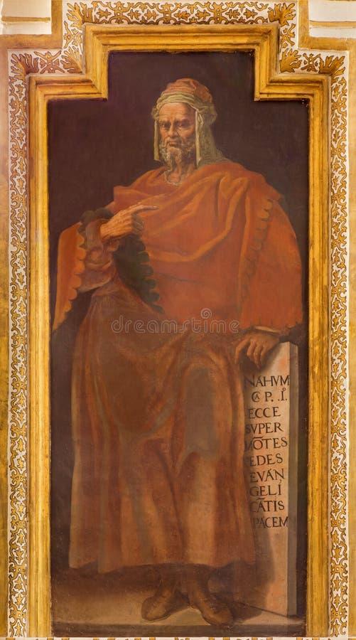 CORDOBA, ИСПАНИЯ: Фреска пророка Nahum в церков Iglesia de Сан Augustin Vela Cristobal и Хуане Луис Zambrano стоковые фотографии rf